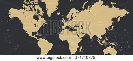 Detailed World Map In Retro Colors With Borders And Country Names, Widescreen Vector Illustration 21