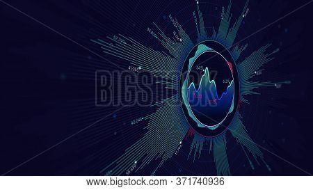 Analytical Chart Of Financial Statistics, Visual Information Background, Monitor Screen In Perspecti