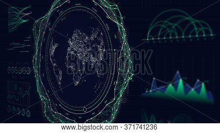Futuristic User Interface Hud Design Graphs And Charts, Global Digital Network Communications Map Wo