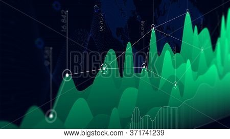 Infographic Dashboard Design Graphs Business Analytics, Monitor Screen In Perspective