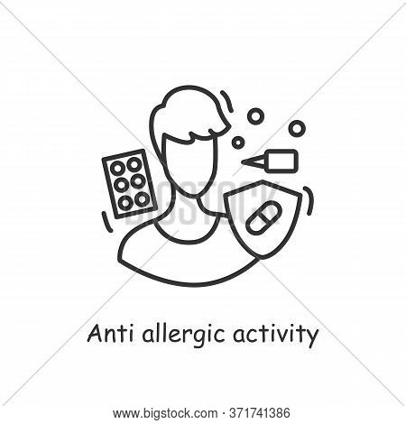 Allergic Activity Probiotics Icon. Allergy Reaction Medication And Medical Treatment Concept. Allerg