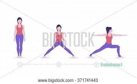 Yoga Pose. Virabhadrasana. Exercise Step By Step