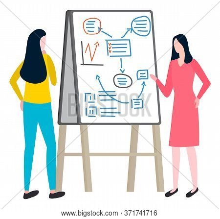 Women Investigate Market Of Goods, Plan Business Issues On Board With Schemes And Arrows. Writing Fi