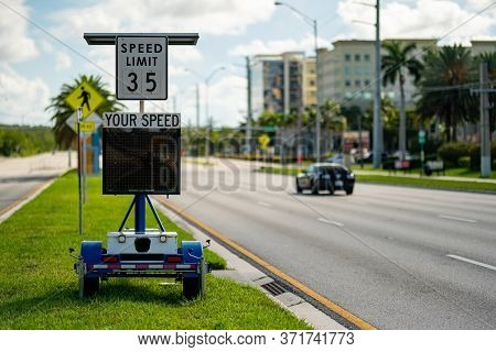 Speed Limit Radar In The City Showing Drivers Their Speed As Approaching