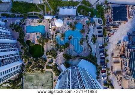 Sunny Isles Beach, Fl, Usa - June 26, 2020: Aerial Photo Trump Tower Sunny Isles Swimming Pool Beach
