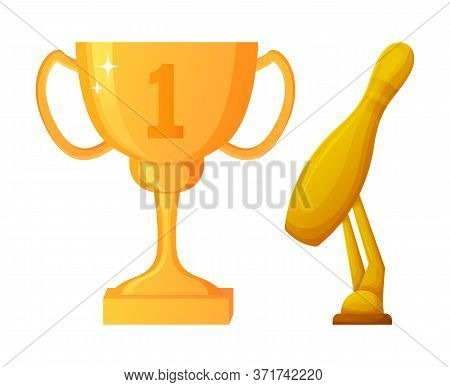 Prize For Winner Of Competition Contest Vector, Award Made Of Gold With First Place, Cup With Handle