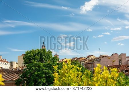 View Of The City Rooftops With Plants In Summer. Panoramic Views And Rooftops, Sky With Cloud