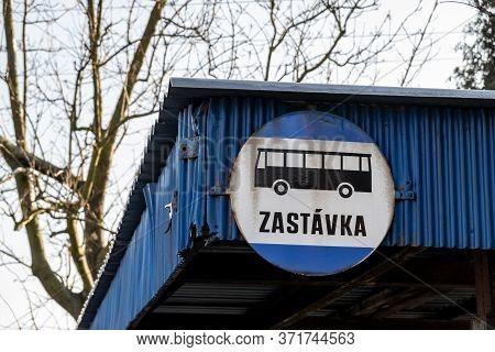Senov, Czechia - January 24, 2020: Historical Retro Logo Of Csad Bus Stops (zastavka) In Czech Repub