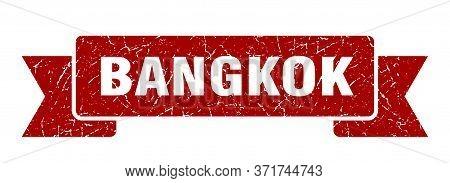 Bangkok Ribbon. Red Bangkok Grunge Band Sign