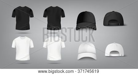 T Shirt And Baseball Cap Mockup Set In Black And White Color