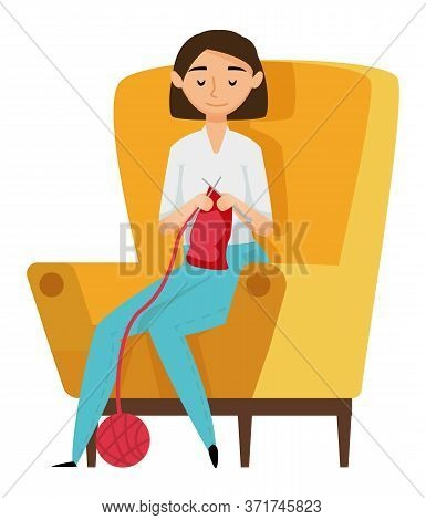 Portrait View Of Woman Needlecrafting, Person Sitting On Armchair With Needles, Crocheting Cloth. Fe
