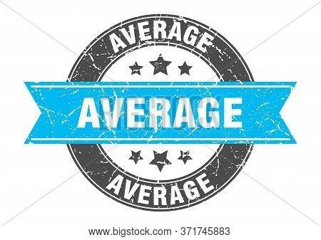 Average Round Stamp With Turquoise Ribbon. Average