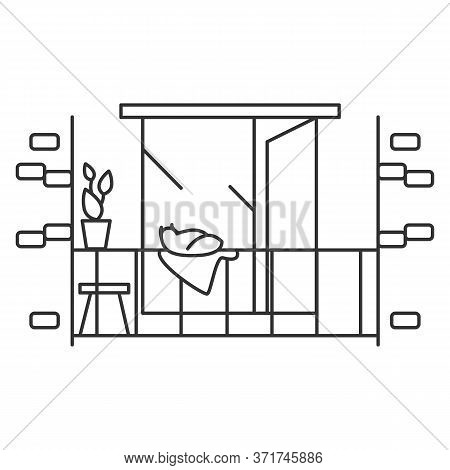Balcony Icon. Balcony With Chair, Plant Decoration And Pet Cat. Concept Line Pictogram For Modern Ho