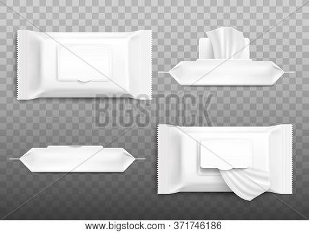 Realistic Cosmetic Wet Wipe Pack Mockup Set With Open And Closed Flap