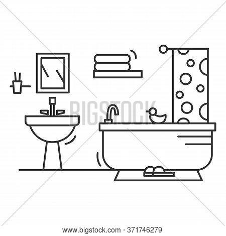 Bathroom Icon. Linear Pictogram Of Comfortable Bathroom With Bathtub, Sink, Shower, Curtain Towels A