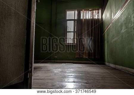 Bangkok, Thailand - Jan 19, 2020 : Abandoned Room With Big Window Was Left To Deteriorate Over Time,