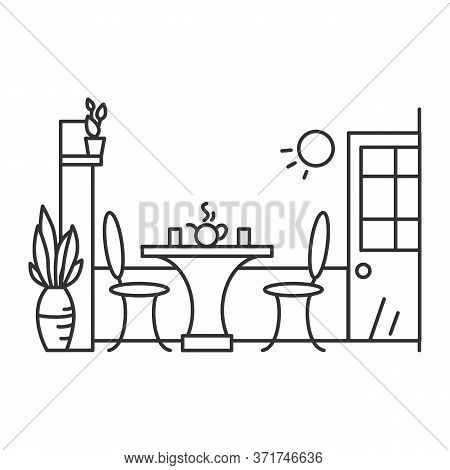 Kitchen Icon. Dining Room, Kitchen Or Cafe Interior, With Table, Chairs, Plant Decoration And Served