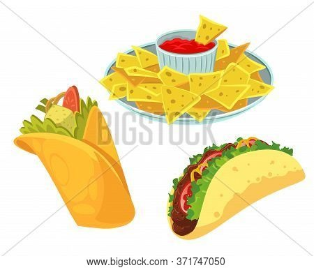 Mexican Traditional Food Set With Burrito, Tacos, Nachos. Isolated On White Background. Vector Flat