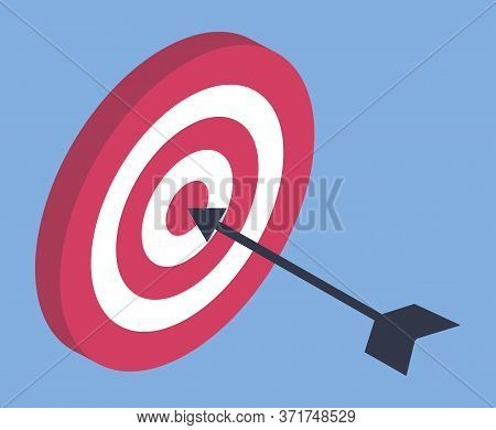 Dart Arrow Hitting Center Target, Success Concept Vector. Market And Business Goal, Dart Game, Bulls