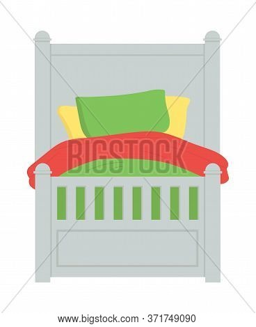 Children Bed With Color Blanket, Yellow And Green Pillows Isolated Piece Of Furniture. Vector Kids R