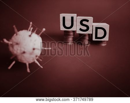 Business Concept - Usd Text On Wooden Blocks In Vintage Background. Stock Photo.