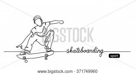 Skateboarding Vector Background, Web Banner, Poster. One Continuous Line Drawing Of Skater With Lett