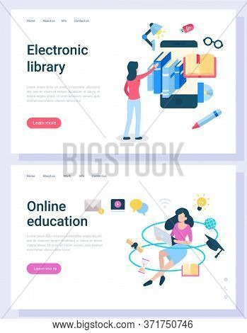 Electronic Library, Online Education, Woman Character Communication With Computer And Books. E-learn