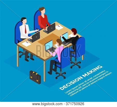Office Or Bank Employees Sitting At Table, Data Analysis, Business Meeting Vector. Working Moments O