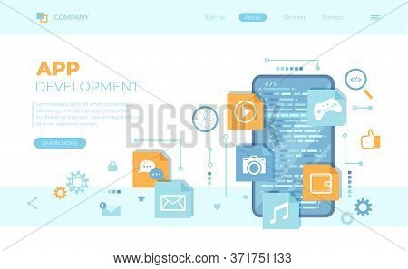 Mobile App Development, Software Management, Ui, Ux Development. Phone Screen With Program Code, Mob