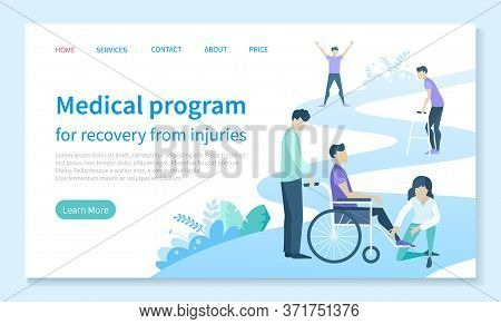 Physiotherapy And Rehab Clinic Patient On Wheelchair Landing Web Page Template Vector. Injury Recove