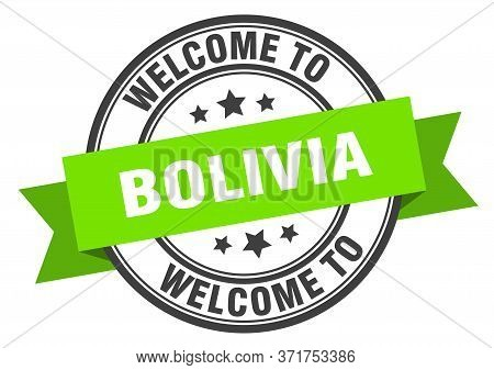 Bolivia Stamp. Welcome To Bolivia Green Sign