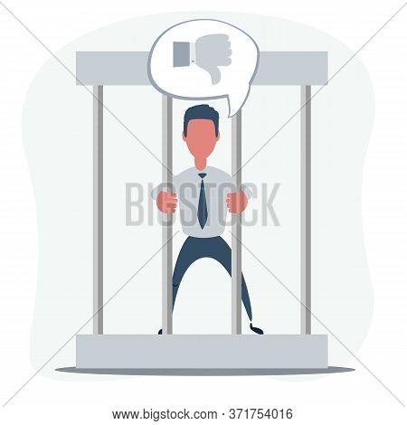 Young Man Behind The Bars In Prison Holding Bars Isolated On White. Sad Businessman In Office Suit I