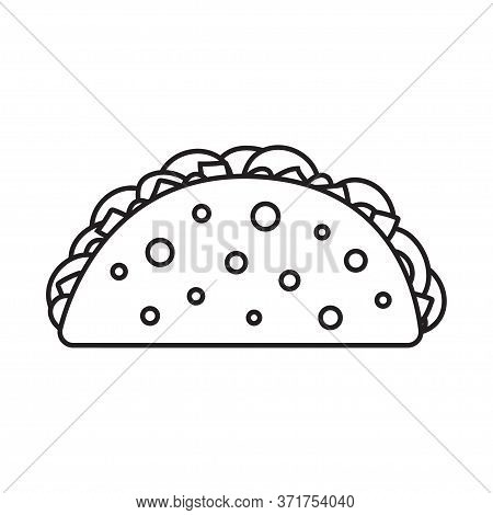 Taco With Tortilla. Mexican Street Tacos. Fast Food. Vector Illustration