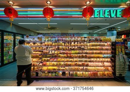 BANGKOK, THAILAND - CIRCA JANUARY, 2020: goods on display seen at 7-evelen store seen in Suvarnabhumi Airport.