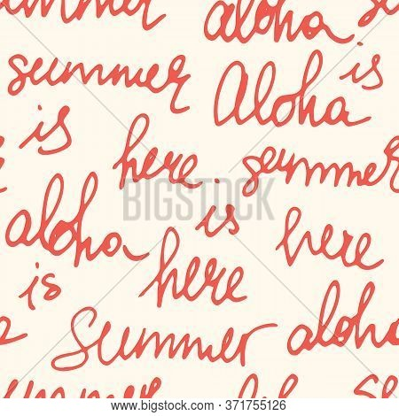 Playful White And Red Lettering Calligraphy Vector Seamless Pattern With Hand-written Aloha, Summer