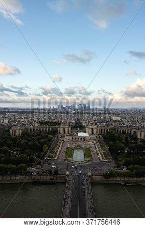 Aerial View From The Eiffel Tower On Paris City, Champs De Mars, Trocadéro And Skyline Toward La Déf