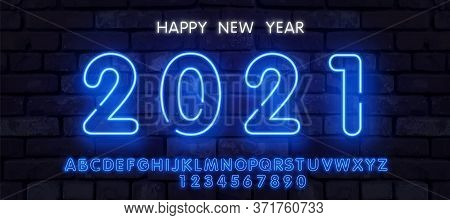 Neon New Year 2021 Greeting Card - Neon Blue Letters 2021 Neon Sign, Bright Signboard, Light Banner.