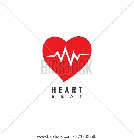 Heart Beat Logo Design Template Isolated On White Background. Red Heart With Pulse Signal Logo Conce