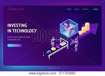 Investing In Technology Isometric Landing Page, Cyborgs Stand At Conveyor Belt With Securities, Grow