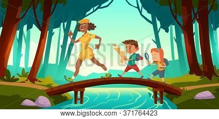 Hikers Walk Over Bridge Crossing River In Forest. Vector Cartoon Illustration With Scouts Kids With