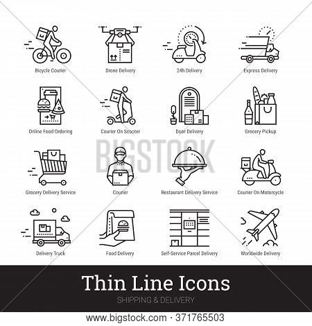Delivery Service, Retail, Online Shopping, Ecommerce Thin Line Icons For Web, Mobile App. Editable S