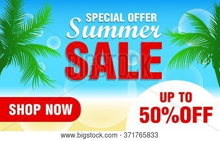 Summer Sale Design With 50% Discount For Summer Holiday. Special Offer Summer Sale. Vector Illustrat