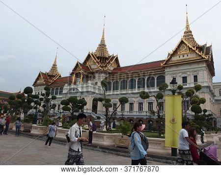 The Grand Palace Bangkok Thailand-22 May 2019:tourists Visiting The Grand Palace And Wat Phra Keaw I