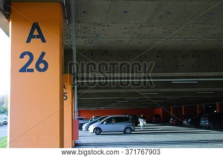 Russia. Novosibirsk. 09-25-2019. Covered Car Parking In A Hypermarket.