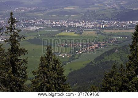 Liptov Basin From Demanovska Mountain. View Of The Village Demanova And Part Of The Town Liptovsky M