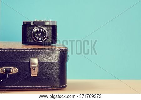 Travelling Background. Vintage Travel. Blogging. Leather Retro Suitcase And Camera For Travel, Trip.