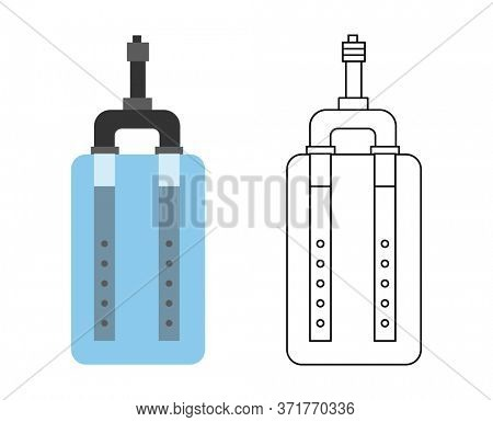 Flat icon of water filter. Color and sketch style. Water filter at home component for clean water busines and logo. The Element of system for purification of water