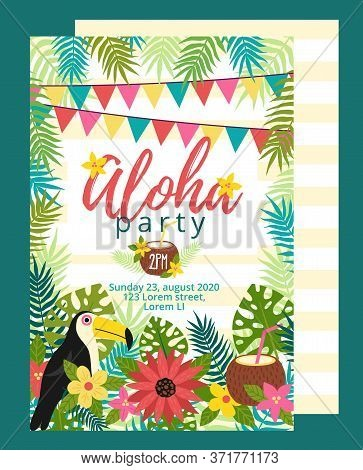 Bright Fun Aloha Party Invitation Template Vector Illustration. Card With Bird And Festive Inscripti
