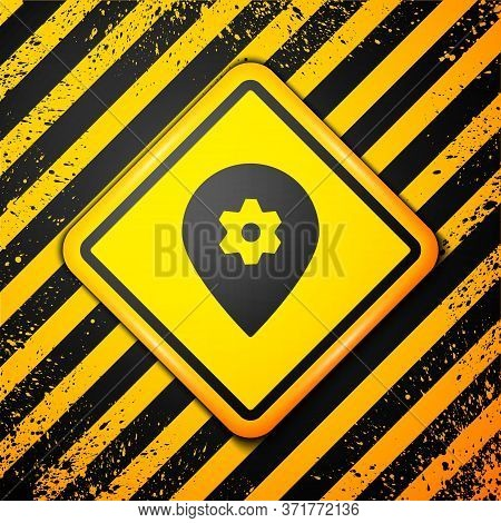 Black Location With Car Service Icon Isolated On Yellow Background. Auto Mechanic Service. Repair Se