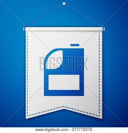 Blue Canister For Motor Machine Oil Icon Isolated On Blue Background. Oil Gallon. Oil Change Service